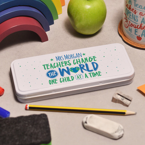 Personalised Teachers change the world Pencil Tin