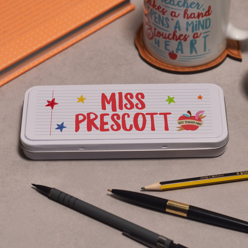 Personalised Teacher Name - Best teacher apple Pencil Tin