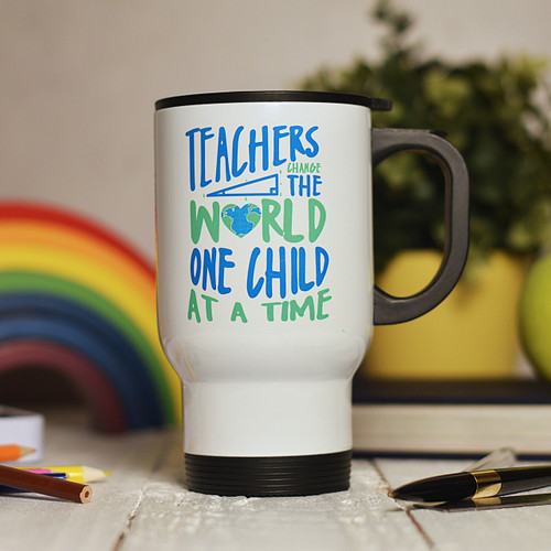 Personalised Teachers change the world one child at a time Travel Mug