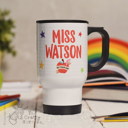 Personalised Teacher Name - Best teacher apple Travel Mug