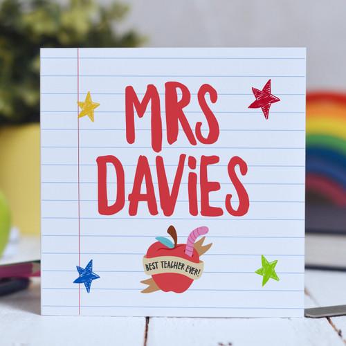 Personalised Teacher Name - Best teacher apple Card