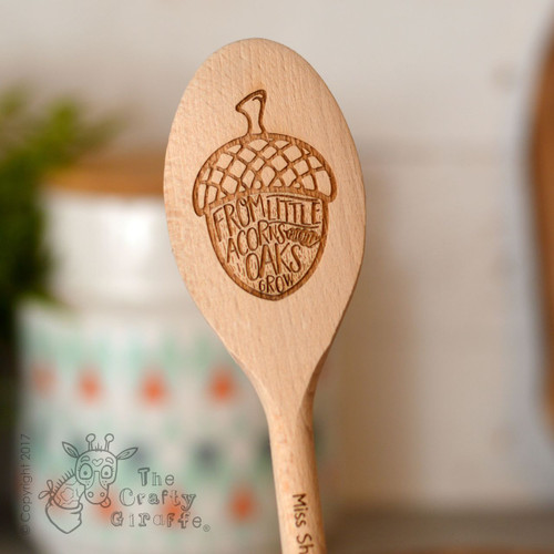 Personalised From little acorns mighty oaks grow Spoon