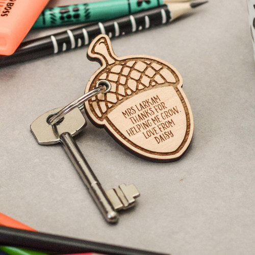 Personalised Detailed Acorn Keyring