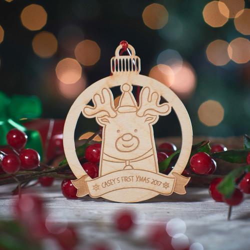 Personalised Reindeer Decoration.
