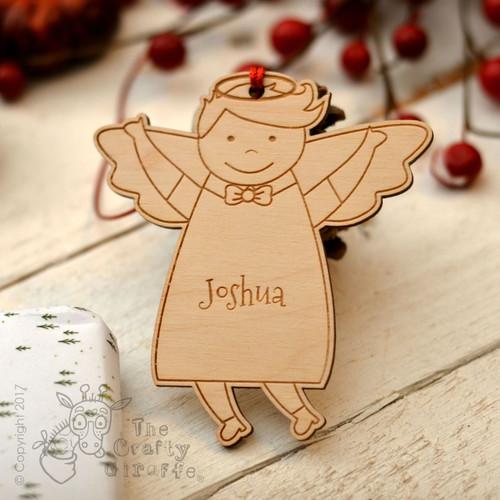 Personalised Angel Boy Decoration