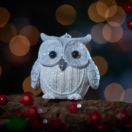 Knitted Owl - White -With feet