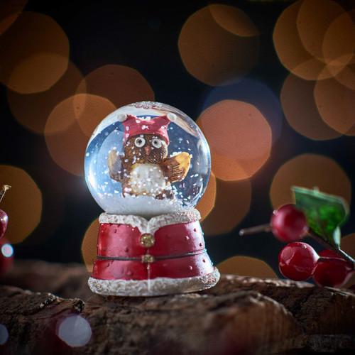 Owl Snowglobe - Twin bobble hat