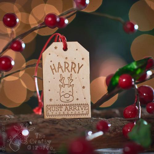Personalised Large Present Gift Tag - Reindeer