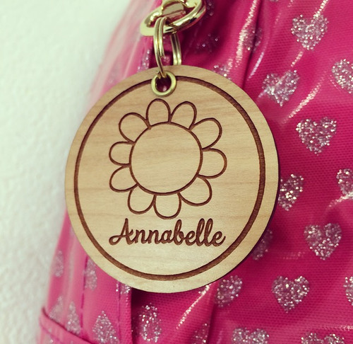 """Personalised """"Girls"""" Wooden Bag Tag *multiple choice*"""