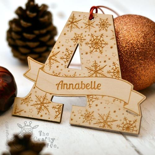 Personalised Snowflake Initial Decoration