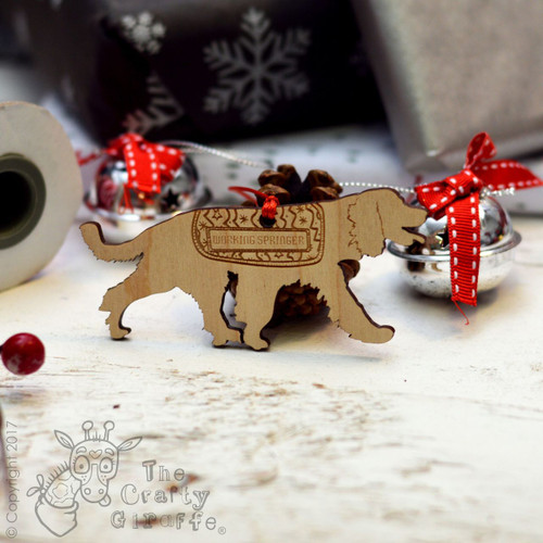 Personalised Working Springer Spaniel Decoration - Long Tail