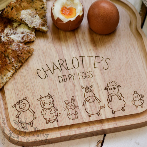 Personalised Breakfast Egg Board - Farm Animals