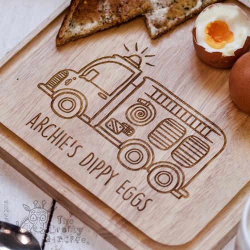 Personalised Breakfast Egg Board - Fire Engine