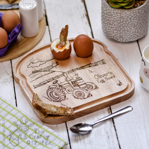Personalised Breakfast Egg Board - Tractor
