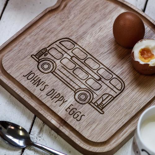 Personalised Breakfast Egg Board - Bus