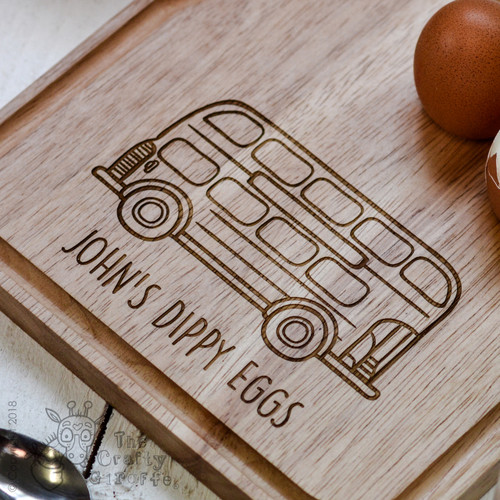 Personalised Breakfast Egg Board - Bus