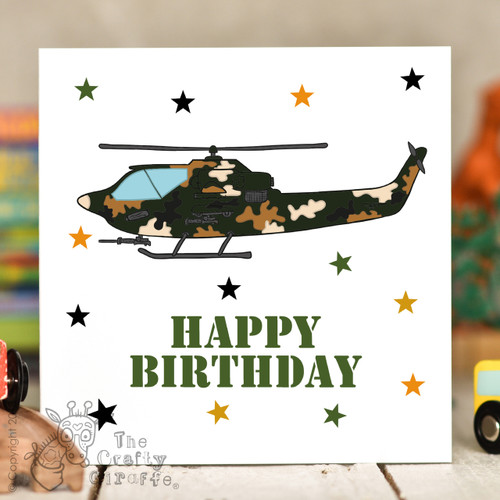 Attack Helicopter Birthday Card
