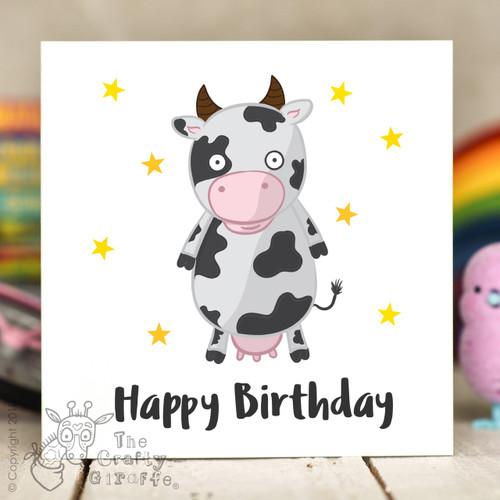 Cow Birthday Card The Crafty Giraffe