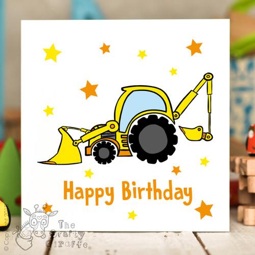 Digger Birthday Card