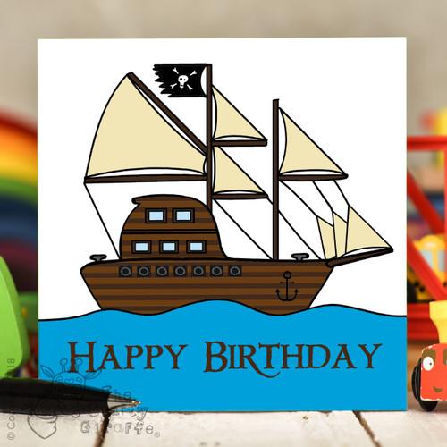 Pirate Ship Birthday Card