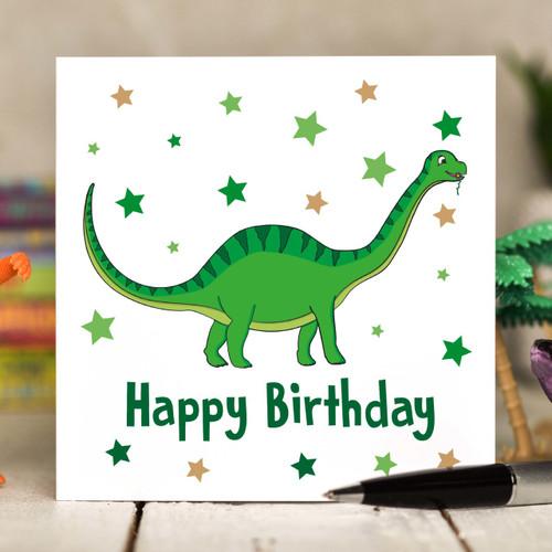 Green Dinosaur Birthday Card