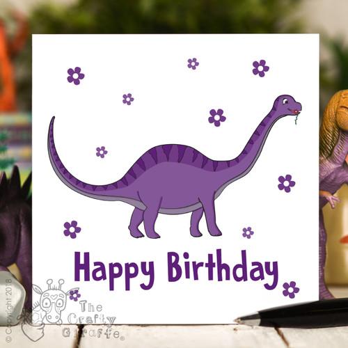 Purple Dinosaur Birthday Card
