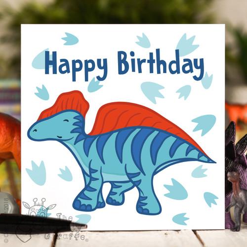 Blue Dinosaur Birthday Card