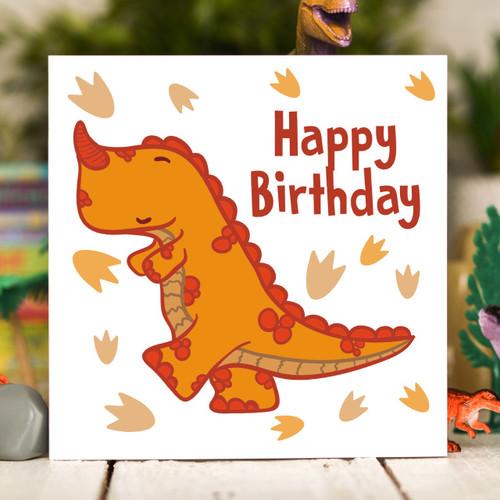 Orange T-Rex Birthday Card