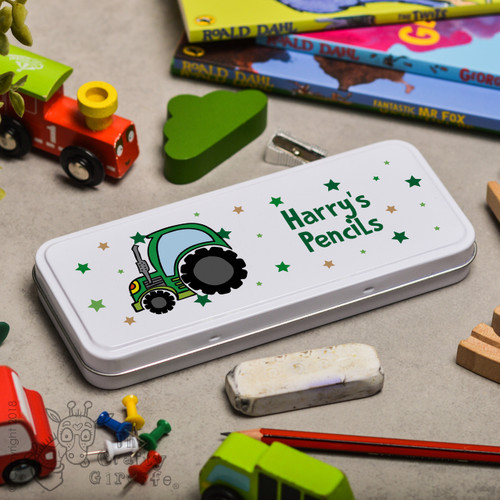 Personalised Tractor Pencil Tin