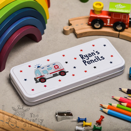 Personalised Ambulance Pencil Tin
