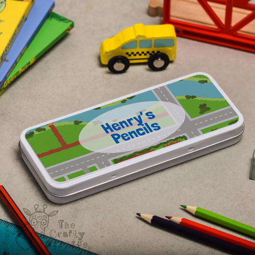 Personalised Road Pencil Tin