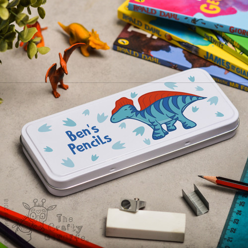 Personalised Blue Dinosaur Pencil Tin
