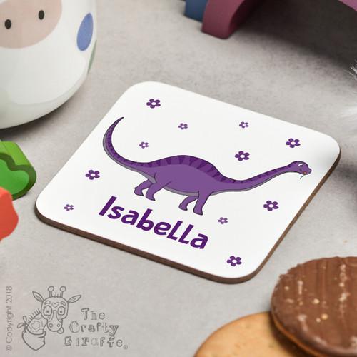 Personalised Purple Dinosaur Coaster