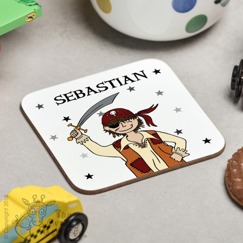 Personalised Pirate Boy Coaster