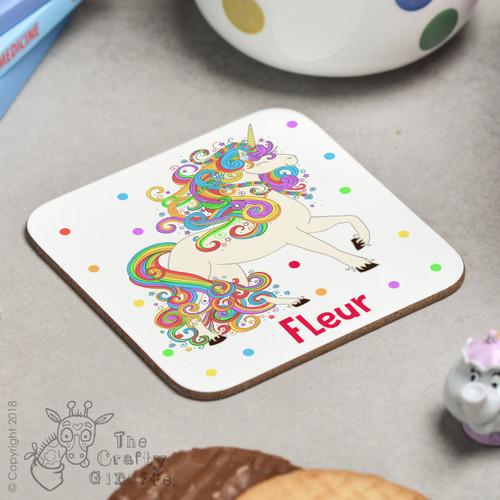 Personalised Unicorn Coaster