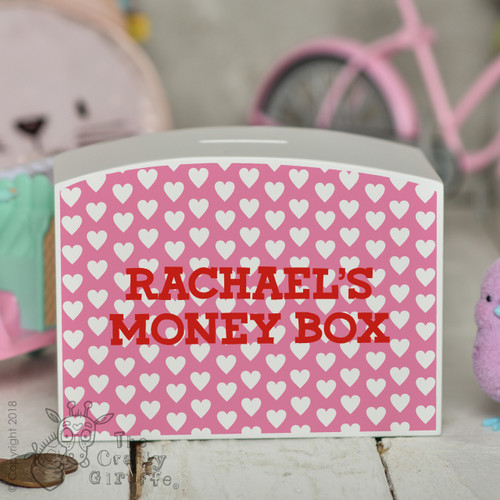 Personalised Hearts Money Box