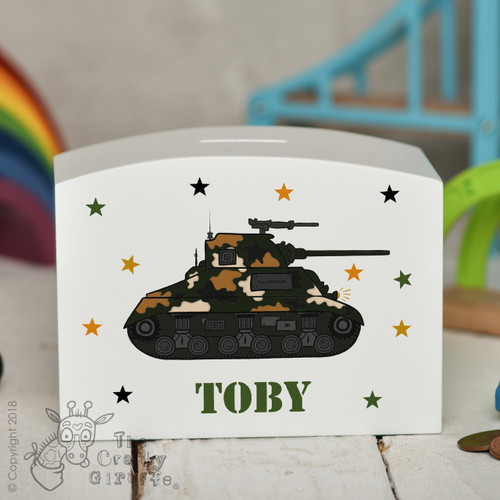 Personalised Tank Money Box