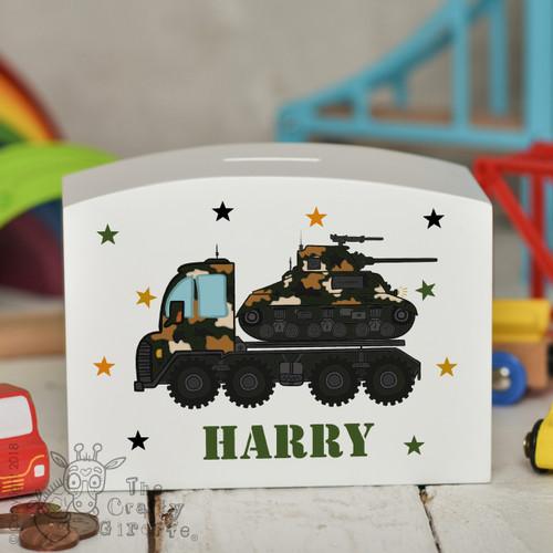 Personalised Tank Transporter Money Box