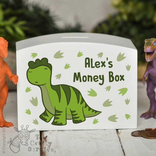 Personalised Diplodocus Money Box