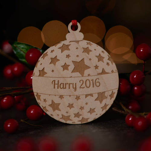 Personalised Starry Bauble Wooden Decoration