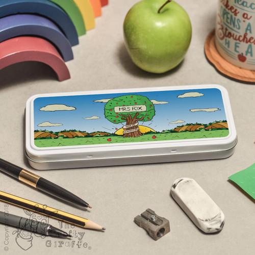 Personalised Apple Tree Pencil Tin