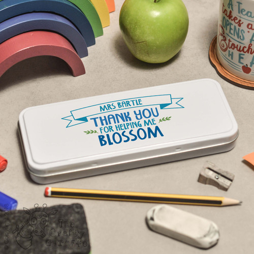 Personalised Thank you for helping me blossom Pencil Tin