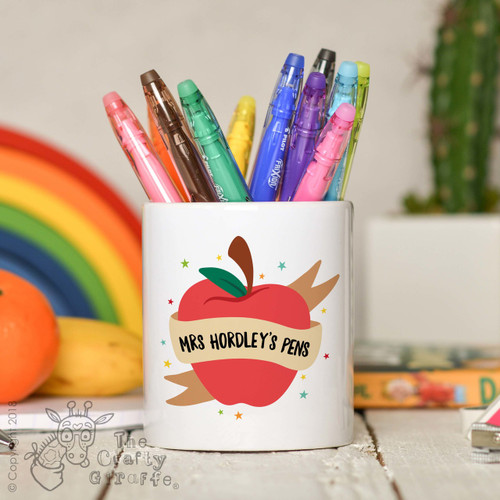 Personalised Apple Teacher Pencil Pot