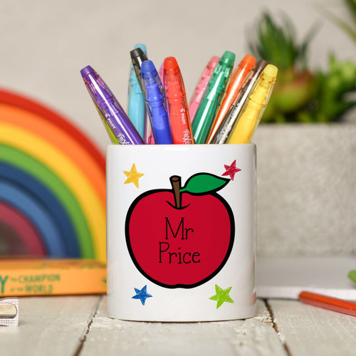 Personalised Teacher Apple Pencil Pot