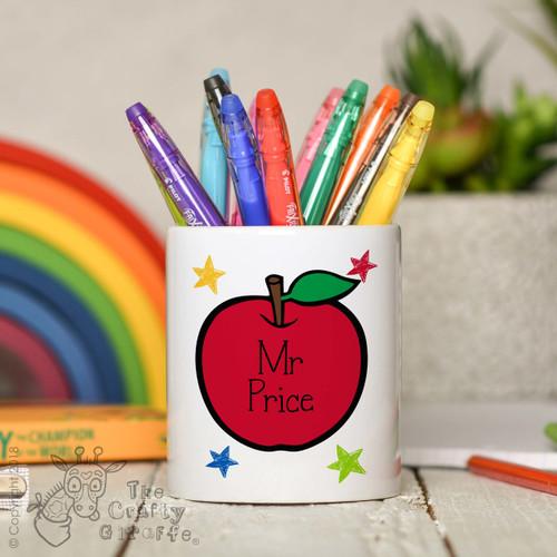 Personalised Teacher Apple Pencil Pot