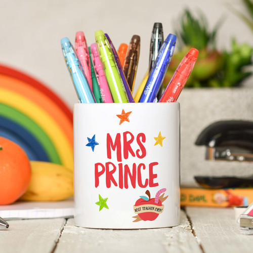 Personalised Teacher Name - Best teacher apple Pencil Pot