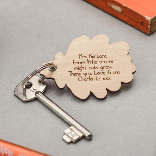 Personalised Plain Oak Leaf Keyring