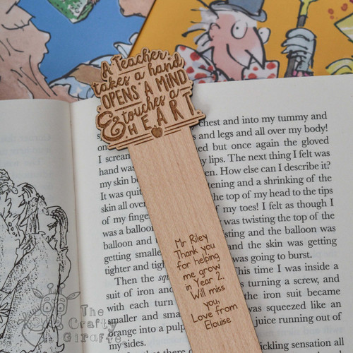 Personalised A teacher takes a childs hand Bookmark