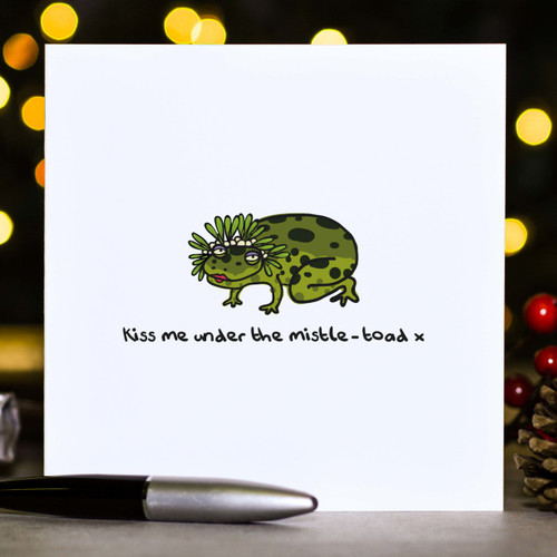 Kiss me under the mistle-toad Christmas Card