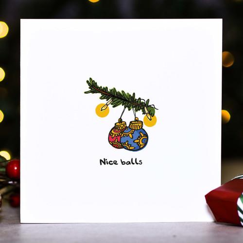 Nice balls Christmas Card